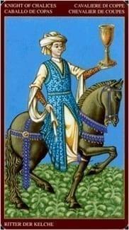 Карта Рыцарь Чаш из колоды Средневековое Таро