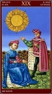 Карта Солнце из колоды Средневековое Таро