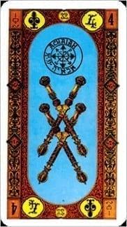 Карта Четверка Жезлов из колоды Ступени Золотого Таро