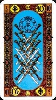 Карта Десятка Мечей из колоды Ступени Золотого Таро