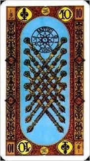 Карта Десятка Жезлов из колоды Ступени Золотого Таро