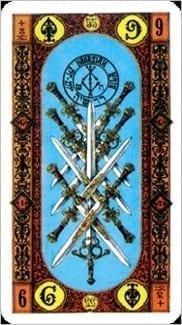 Карта Девятка Мечей из колоды Ступени Золотого Таро