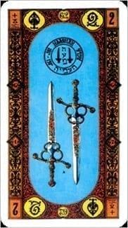 Карта Двойка Мечей из колоды Ступени Золотого Таро