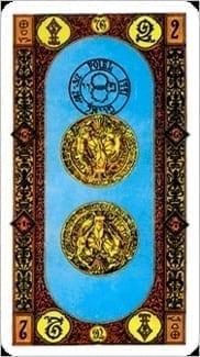 Карта Двойка Пентаклей из колоды Ступени Золотого Таро
