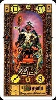Карта Дьявол из колоды Ступени Золотого Таро