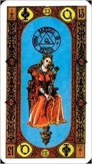 Карта Королева Жезлов из колоды Ступени Золотого Таро