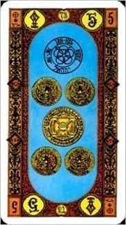 Карта Пятерка Пентаклей из колоды Ступени Золотого Таро