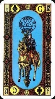 Карта Рыцарь Жезлов из колоды Ступени Золотого Таро