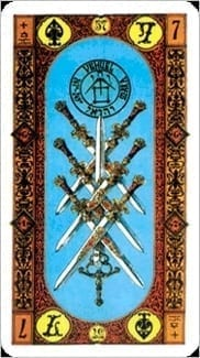Карта Семерка Мечей из колоды Ступени Золотого Таро