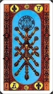Карта Семерка Жезлов из колоды Ступени Золотого Таро
