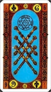 Карта Шестерка Жезлов из колоды Ступени Золотого Таро