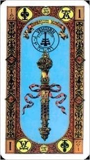 Карта Туз Жезлов из колоды Ступени Золотого Таро