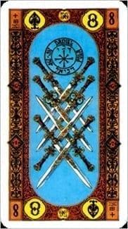 Карта Восьмерка Мечей из колоды Ступени Золотого Таро
