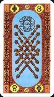 Карта Восьмерка Жезлов из колоды Ступени Золотого Таро