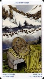 Карта Туз Пентаклей из колоды Таро Белой и Черной магии