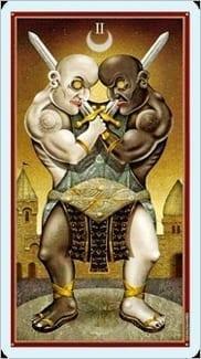 Карта Двойка Мечей из колоды Таро Безумной Луны