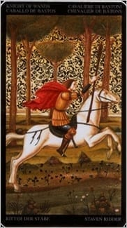 Карта Рыцарь Жезлов из колоды Таро Ботичелли