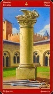 Карта Четверка Мечей из колоды Таро Драконов