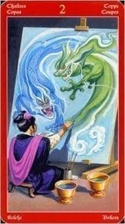 Карта Двойка Чаш из колоды Таро Драконов