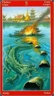 Карта Пятерка Чаш из колоды Таро Драконов
