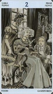 Карта Двойка Мечей из колоды Таро Джейн Остин