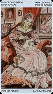 Карта Королева Жезлов из колоды Таро Джейн Остин