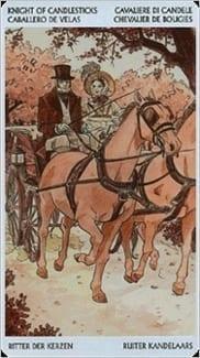 Карта Рыцарь Жезлов из колоды Таро Джейн Остин