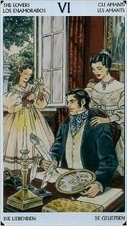 Карта Влюбленные из колоды Таро Джейн Остин