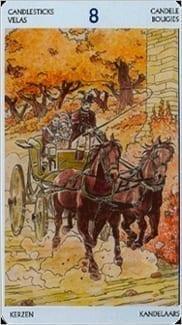 Карта Восьмерка Жезлов из колоды Таро Джейн Остин