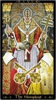 Карта Иерофант (Жрец, Папа) из колоды Таро Иллюминатов