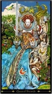 Карта Королева Мечей из колоды Таро Иллюминатов