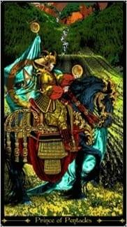 Карта Рыцарь Пентаклей из колоды Таро Иллюминатов