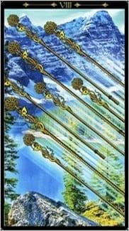 Карта Восьмерка Жезлов из колоды Таро Иллюминатов