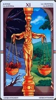 Карта Правосудие (Справедливость) из колоды Таро Колесо Года