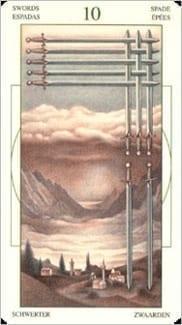 Карта Десятка Мечей из колоды Таро Леонардо Да Винчи