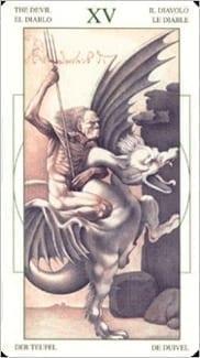 Карта Карта Дьявол из колоды  Таро Леонардо Да Винчи