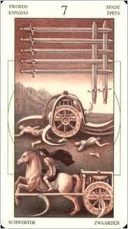 Карта Семерка Мечей из колоды Таро Леонардо Да Винчи