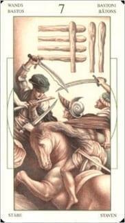 Карта Семерка Жезлов из колоды Таро Леонардо Да Винчи