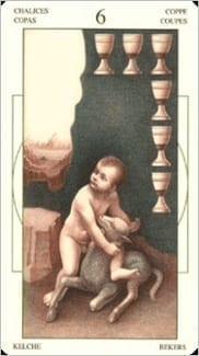 Карта Шестерка Чаш из колоды Таро Леонардо Да Винчи