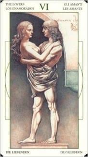 Карта Влюбленные из колоды Таро Леонардо Да Винчи