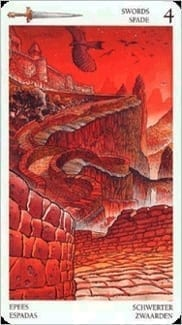 Карта Четверка Мечей из колоды Таро Мистерии Авалона