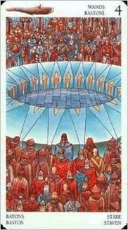 Карта Четверка Жезлов из колоды Таро Мистерии Авалона