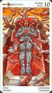 Карта Десятка Мечей из колоды Таро Мистерии Авалона