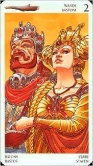 Карта Двойка Жезлов из колоды Таро Мистерии Авалона