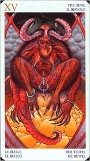 Карта Дьявол из колоды Таро Мистерии Авалона