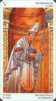 Карта Иерофант (Жрец, Папа) из колоды Таро Мистерии Авалона