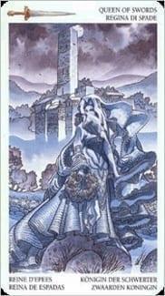 Карта Королева Мечей из колоды Таро Мистерии Авалона