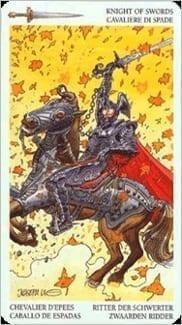 Карта Рыцарь Мечей из колоды Таро Мистерии Авалона