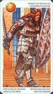 Карта Рыцарь Пентаклей из колоды Таро Мистерии Авалона