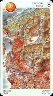 Карта Восьмерка Пентаклей из колоды Таро Мистерии Авалона